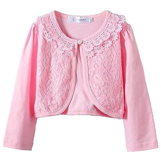 f0760633c8 Girls Long Sleeve Bolero Jackets Lace Flower Shawl Short Cardigan Shrug  Pink 2-3T