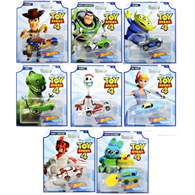Hot Wheels Toy Story 4 - Complete Set of 8 Collectible Character Cars - Woody, Buzz Lightyear, Alien, Rex, Forky, Bo Peep, Duke Caboom, Ducky & Bunny: Toys & Games