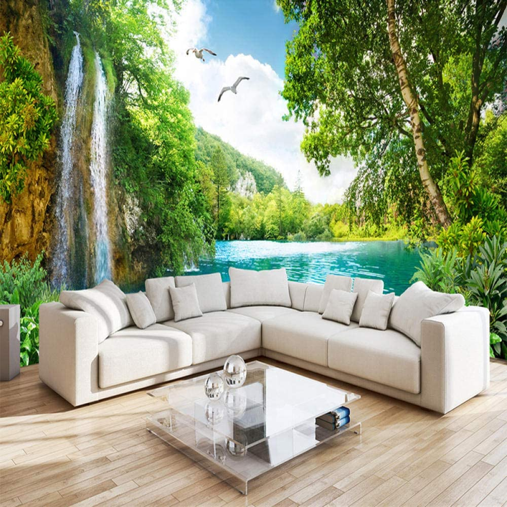 Custom 3D Wall Mural Wallpaper Home Decor Green Mountain Waterfall Nature Landscape 3D Photo Wall Paper for Living Room Bedroom-350x250cm
