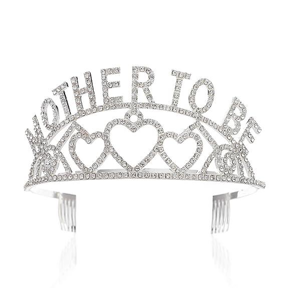 SWEETV Mother To Be Corona Tiara Diadema Tocado - Futura Madre - Bautismo Neonatal / Revelará Género, Transparente: Amazon.es: Belleza