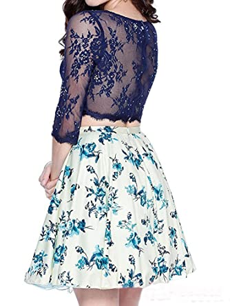 Kiss Rain Womens Two Pieces Floral Short Prom Dress with Long Sleeve Lace Top