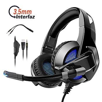Auriculares Juegos Plegable con Microfono Ajustable para PS4 / PC / Xbox One / Xbox 360, Rodzon Cascos Juegos Ps4 de Luz Led Stereo para Computadora ...