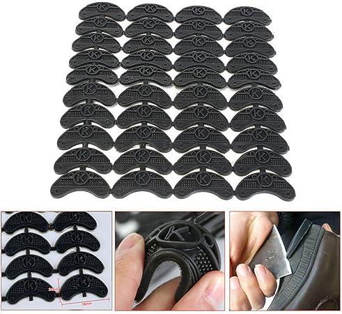 40PCS 20 Pairs Rubber Heel Savers Toe Plates Taps DIY Shoe Repair Pads Black P