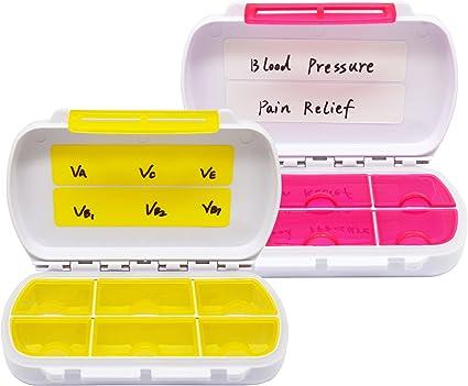 Meta-U caja de estuche impermeable portátil portable de la medicina del recorrido de la caja de la píldora (amarillo & rojo): Amazon.es: Salud y cuidado personal