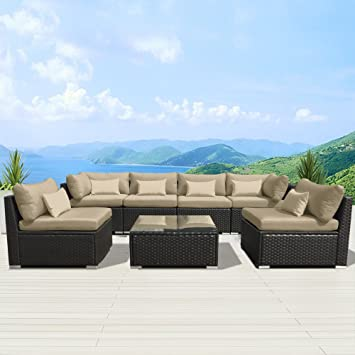 Perfect Modenzi 7G U Outdoor Sectional Patio Furniture Espresso Brown Wicker Sofa  Set (Light Beige
