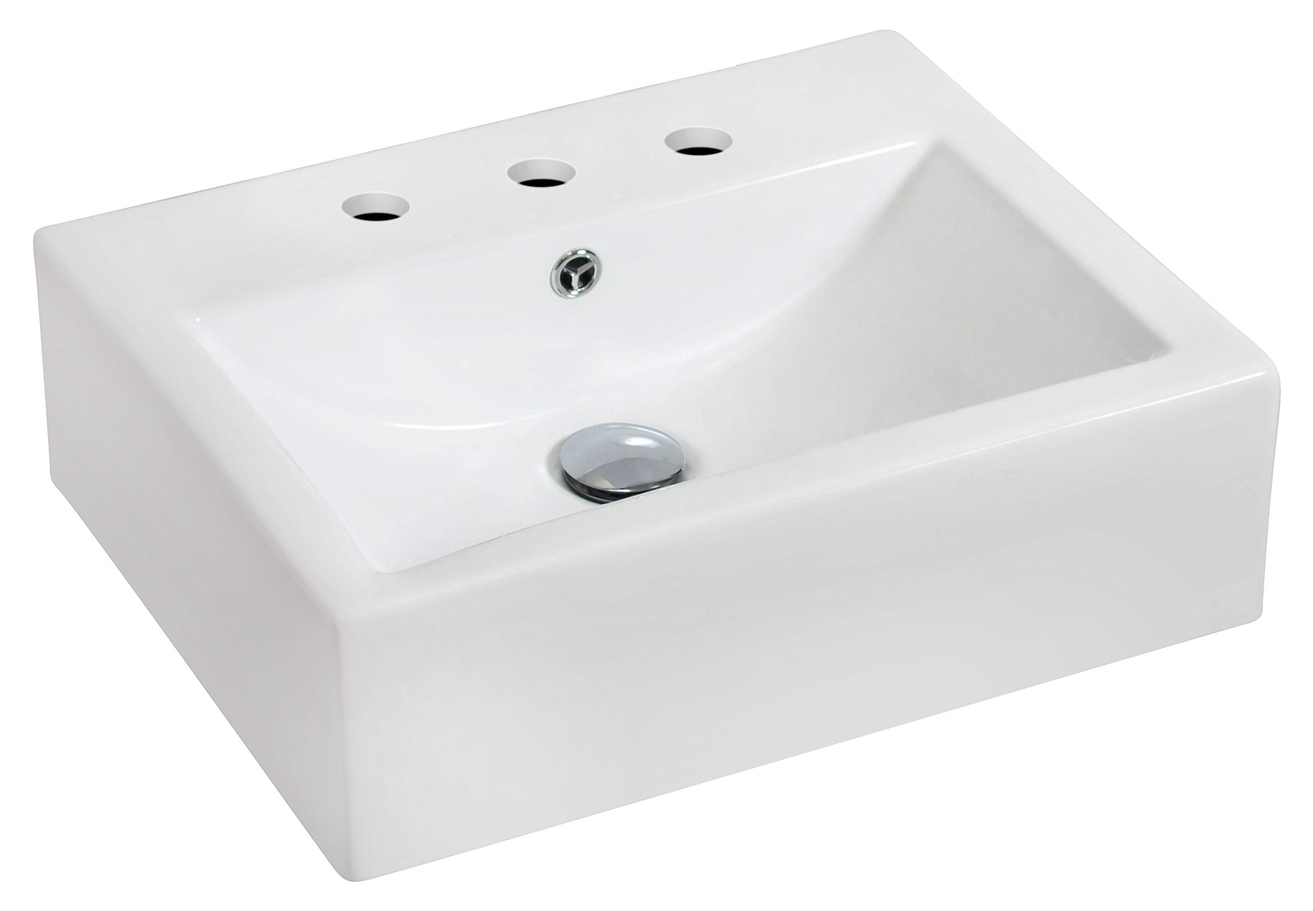 American Imaginations 687   Wall Mount Rectangle White Ceramic Vessel with 8-Inch  Centers