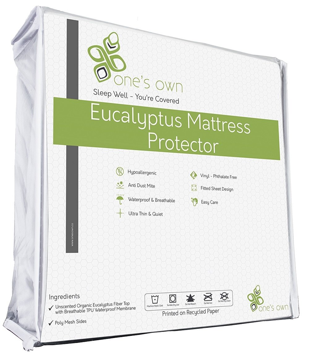 One's Own Mattress Protector, Renewable Organic Tencel/Eucalyptus Fiber Top, Biodegradable TPU Waterproofing, Hypoallergenic, Five-Sided, White, Full/Double Size