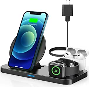 Yemo Wireless Charger, 3 in 1 Wireless Charging Station with Power Adapter Compatible for Airpods, Apple Watch Series SE 6 5 4 3 2 1, Charging Dock Stand for iPhone 11,11 Pro Max,XR,XS Max,X,8