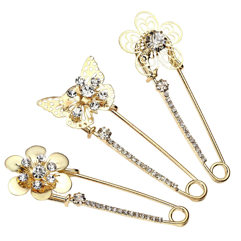 JSDDE Holiday Gift Pack of 3 Women Fashion Rhinstone Crystal Accented Golden Safety Pin Jewelry Brooch Breastpin - Catch Scarf ,Lapel or Collar(#16)