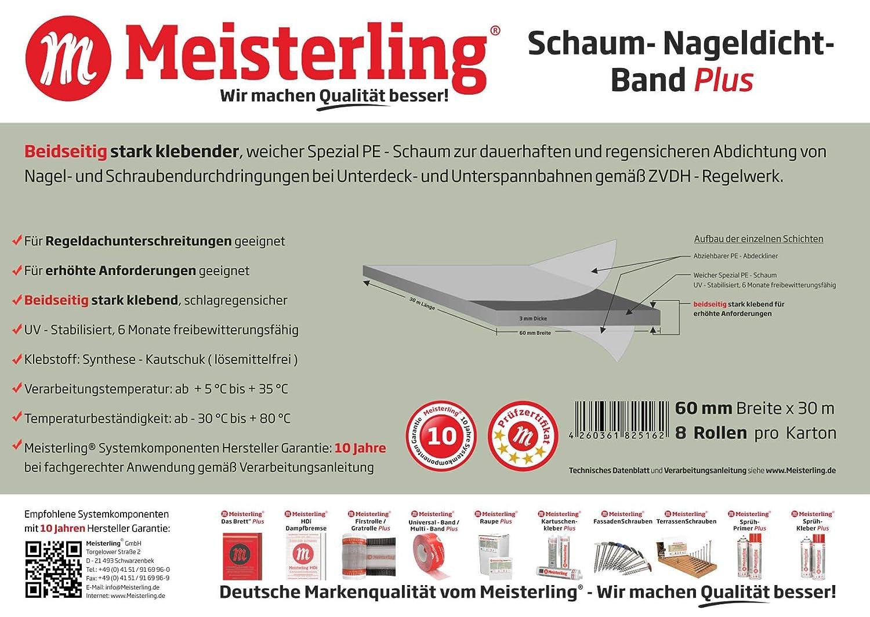 beids Meisterling/® Schaum klebend 60 mm Breite x 30m Nageldicht Band PLUS