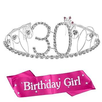 ZWOOS Cristal Cumpleaños Corona Princesa Feliz Cumpleaños de Número 30 Accesorios con Peine Faja de Cumpleaños para Suministros para Fiestas de Feliz ...