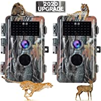 [2020 Upgrade] 2-Pack Night Vision Game Trail Cameras 20MP 1080P H.264 MP4 Video No Glow Deer Hunting Cams IP66…