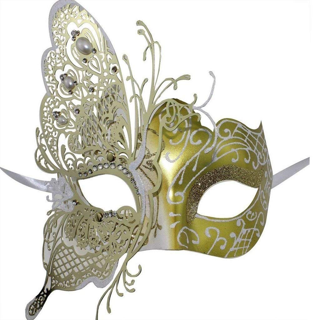 gold LMCLJJ Masks Masquerade Mask Mardi gras mask for Women Ultralight Metal Mask Shiny Metal Rhinestone Venetian Pretty Party Evening Prom Ball Mask. (color   gold)