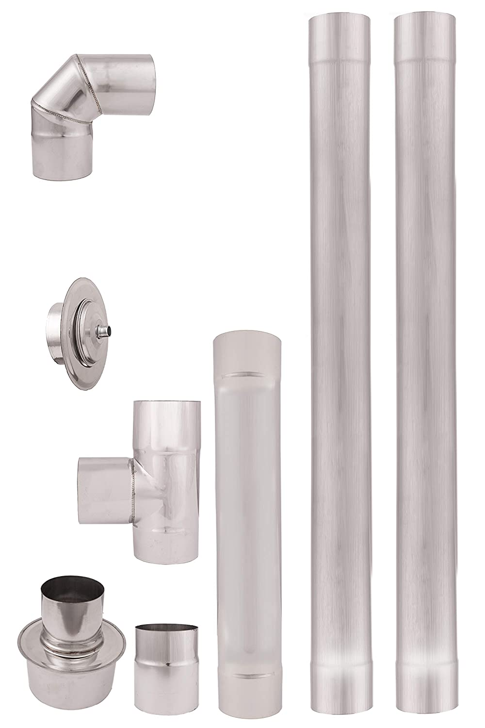 Diameter 80 mm Stainless Steel Pellet Stove Pipe, Exhaust Pipe, Elbow Pipe for Pellet Stove Accessories AISI 304, 2 X 1 meter Straight Length Chimney Pipe Liner, 90° Elbow, Tee with Cleaning plug Coupling connector, Rosette Pipe increaser 80mm to 130mm