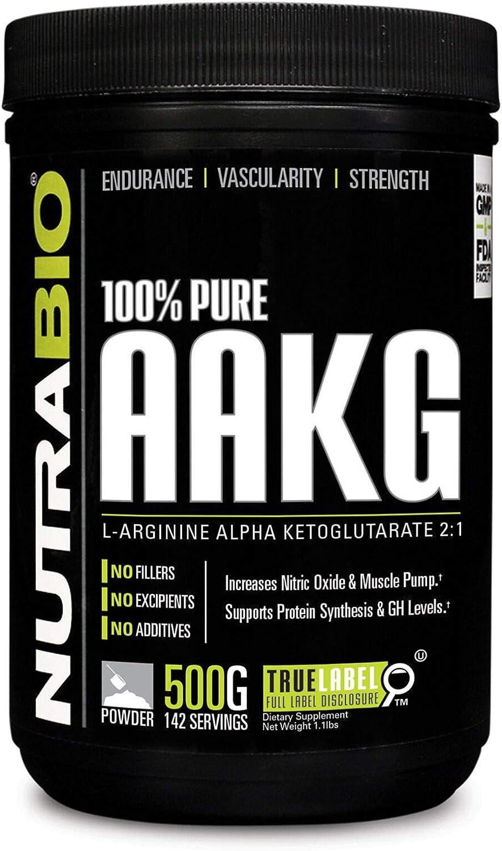 NutraBio 100 Pure AAKG L-Arginine Alpha Ketoglutarate – 500 Grams – Nitric Oxide Booster.