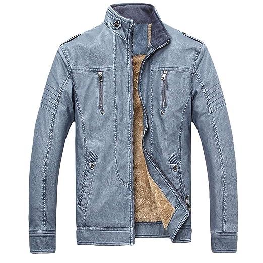 Men Winter Plus Velvet Thickening Vintage Leather Jacket Zipper Coat Plus Size (Blue, XL