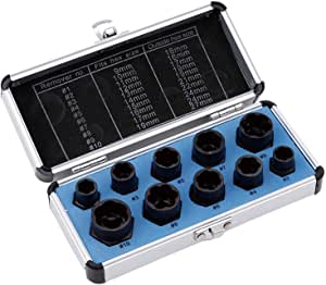 Hight Set Bolt Remover Tool Set,Drive Socket kit,Locking Socket Tools Kit 10Pcs Nut Remover,9-19mm Impact Nut Extractor Set,Nut Extractor Socket