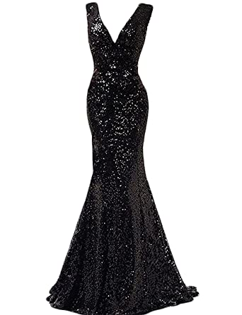 Little Star Womens Black Sequins Formal Evening Gowns V Neck Mermaid Prom Dresses Long 2018 Lace
