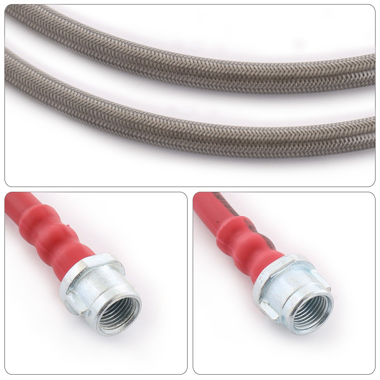 For Porsche 911 996 Carrera Euro Front Rear Stainless Steel Braided Oil Brake Line Cable Hose Red End Cap