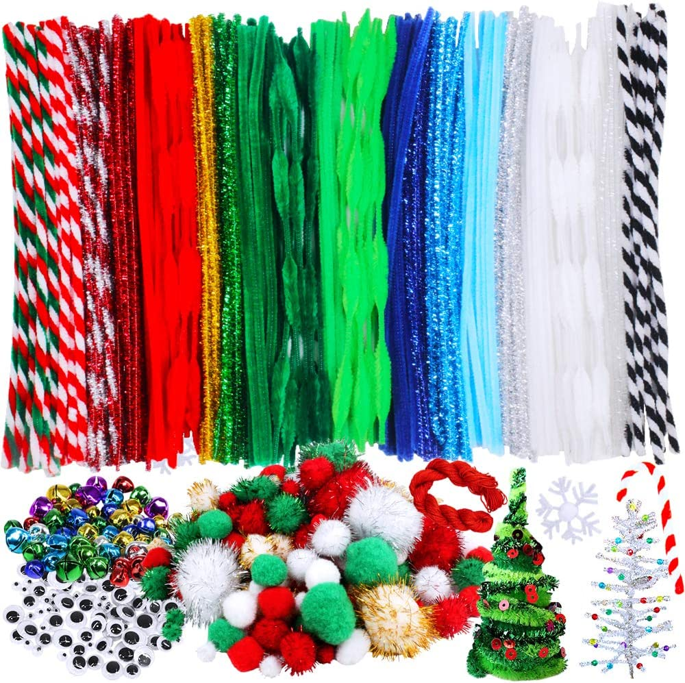 Including 210 Pcs Pipe Cleaners 154 Pcs Pom Poms,100 Pcs Wiggle Eyes and 50 Pcs Mixed Color Jingle Bells for Festival Decoration DIY Craft 515 Pieces Christmas Pipe Cleaners Sets