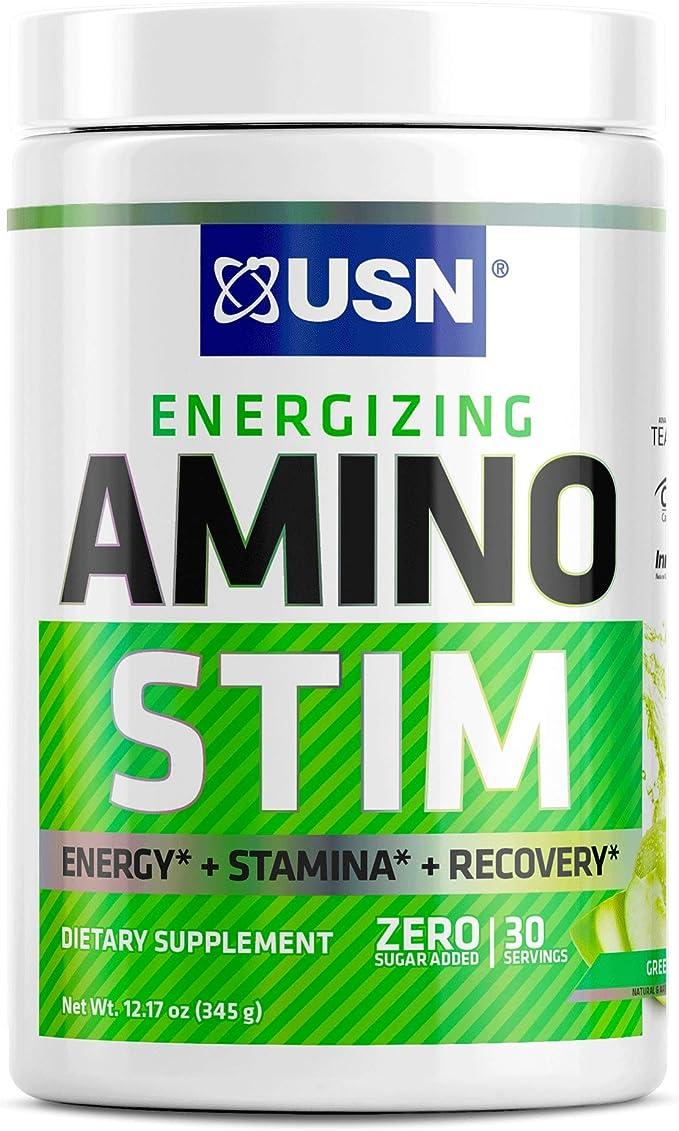 Amazon.com: USN Energizing Amino Stim Suplemento energético libre de azúcar - Energía, polvo de recuperación de estamina con BCAA, manzana verde, 30 porciones: Health & Personal Care