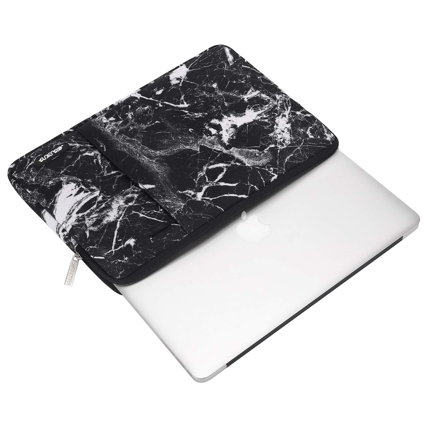 MOSISO Laptop Sleeve Bag Compatible 13-13.3 Inch MacBook Pro, MacBook Air, Notebook Computer, Vertical Style Water Repellent Polyester Protective Case Cover with Pocket, Black Marble by MOSISO (Image #4)