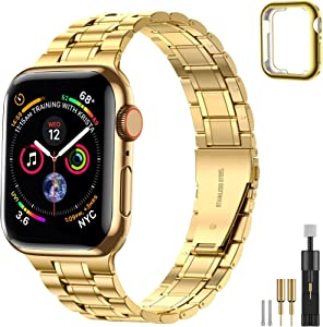 Suplink Bands Compatible Apple Watch Band 38mm 40mm 42mm 44mm, Solid Stainless Steel Metal Slim Replacement Wristband Strap for iWatch Series 6/5/4/3/2/1/SE women and Men(Gold ,42/44mm)