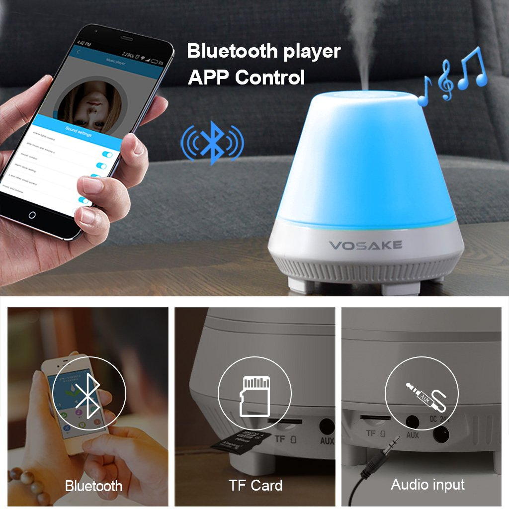 3-in-1 Cool Mist Humidifier Bluetooth Speaker Lamp, Smart Aroma Essential Oil Diffuser, VOSAKE Ultrasonic 300ml Mist Humidifier with 7 Color Lights Changing, Bluetooth Aroma Humidifier, Waterless Auto Shut-off & Timing, Alarm, 1-6 Hour Time