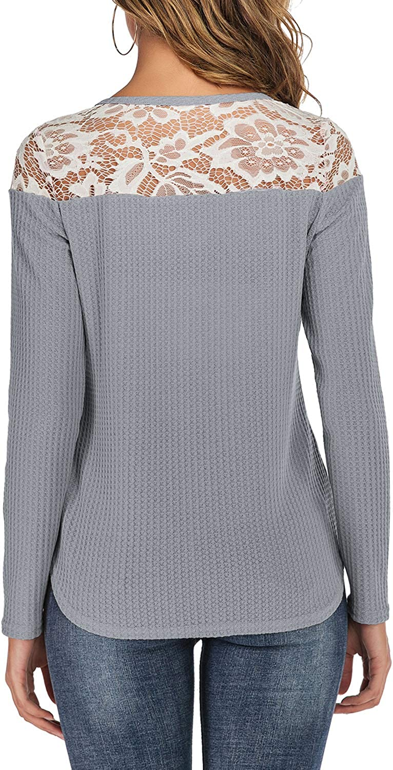 Welity Womens V Neck Knit Lace Top Long Sleeve Blouse