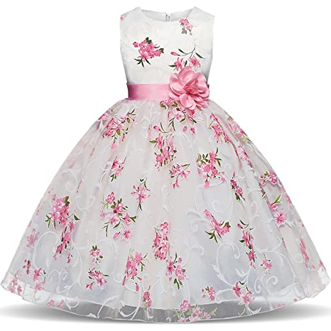 e7e4427393fa3 Amazon.com: Summer Flower Girl Dresses New Floral Children Ball Gown  Wedding Party Clothing Kids Dress for School Girl Kid Robe,Photo Style,6:  Kitchen & ...