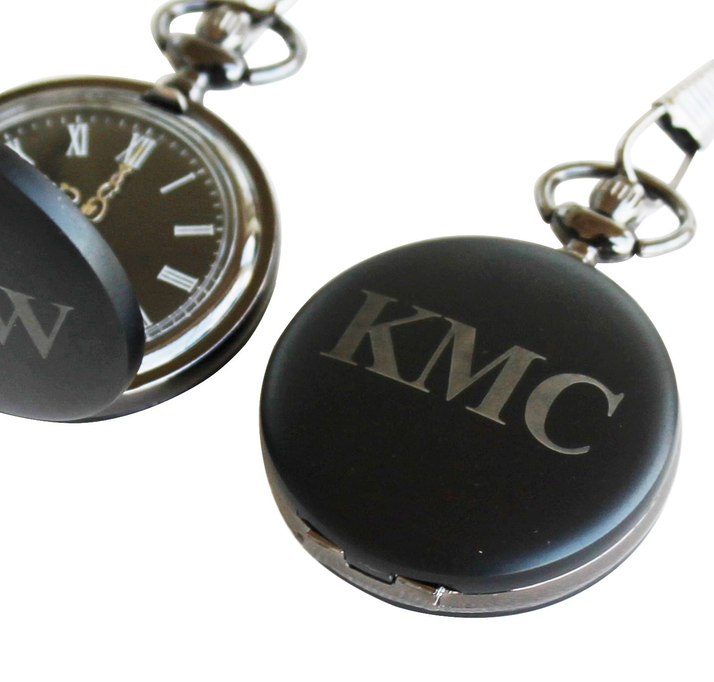 Personalized Black Matte Quartz Pocket Watch with Chain - Groomsmen Wedding Party Gifts - Engraved for Free