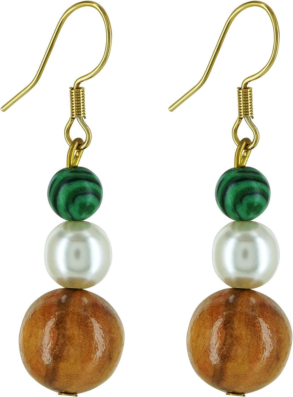 bagusto Pendientes con perlas de madera de olivo y perlas mallorquinas - hecho a mano en Mallorca