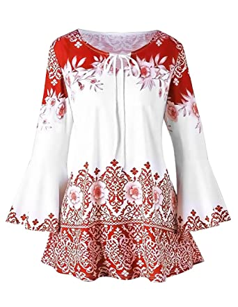 0b80677623a Women Printed Flare Tunics Floral Vintage Blouses Long Flower Bell Sleeve  Keyhole T-Shirts Plus