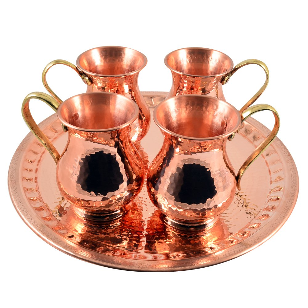 4 X CopperBull Thickest Heaviest Hammered 1 mm Copper Tumbler Cup Mug Set with TRAY for Water Moscow Mule Ayurvedic Healing,14 Oz