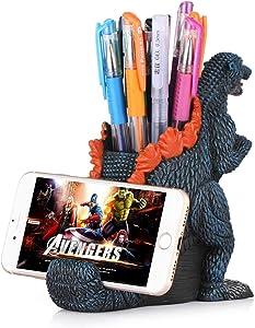 Dinosaur Pencil Holder with Phone Holder Desk Organizer Desktop Mobile Phone Bracket Pen Pencil Stand Storage Pot Holder Container Stationery Box Organizer (Godzilla)