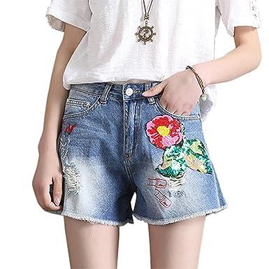 Jidfupte New Summer Denim Shorts Women Sequined Decorate Ripped