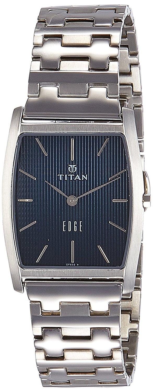 Titan Men's Edge Mineral Quartz Glass Slim Analog Wrist Watch- Ultra Slim Watch with Metal/ Leather Strap