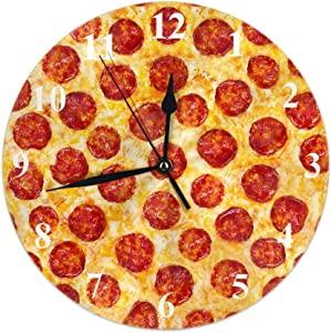 HGOD DESIGNS Pepperoni Pizza Round Wall Clock,A Seamless Food Texture Round Wall Clock Home Garden Wall Decorative for Bedroom Office School Art(10