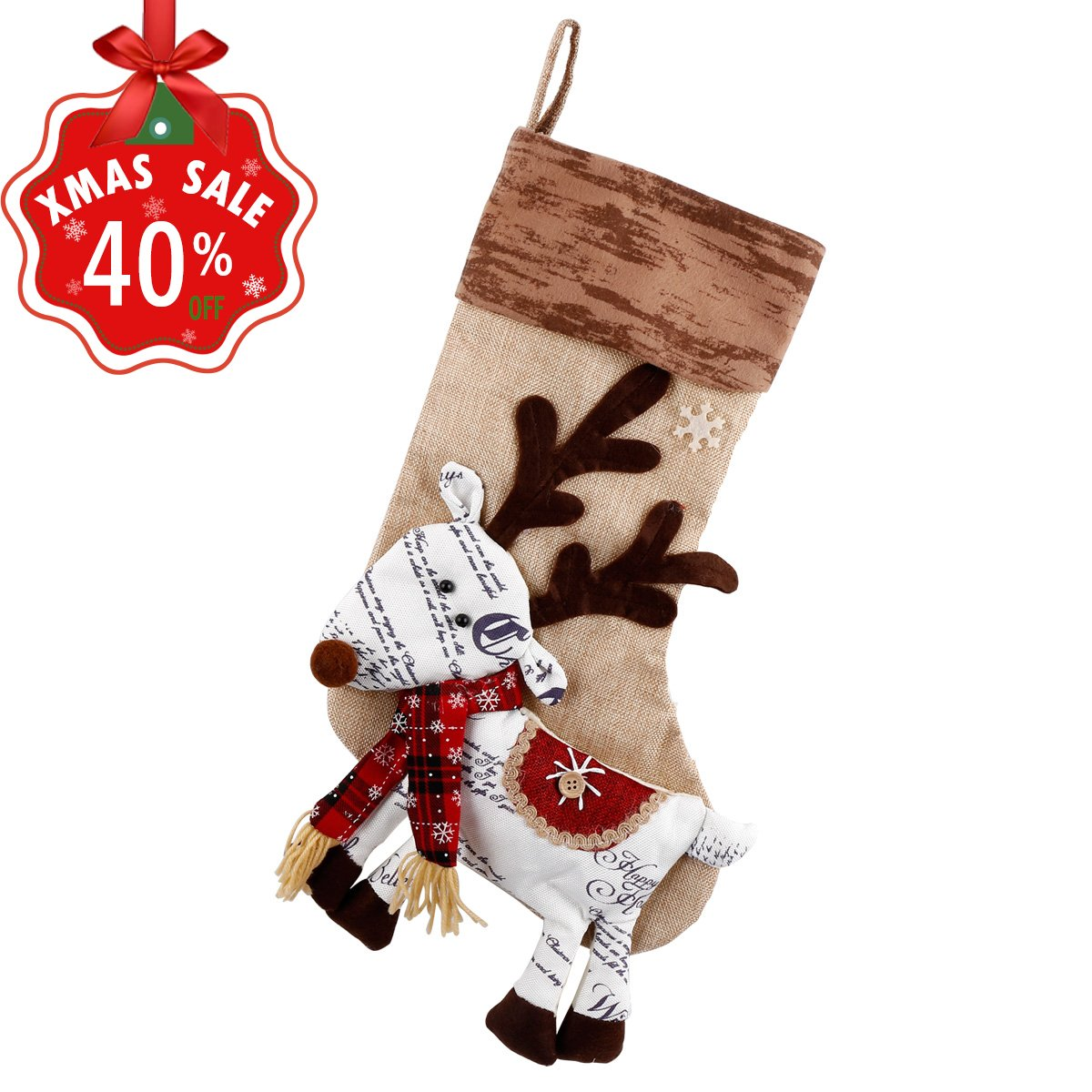 Amazon.com: Personalized Christmas Stockings Ornament Cute Reindeer ...