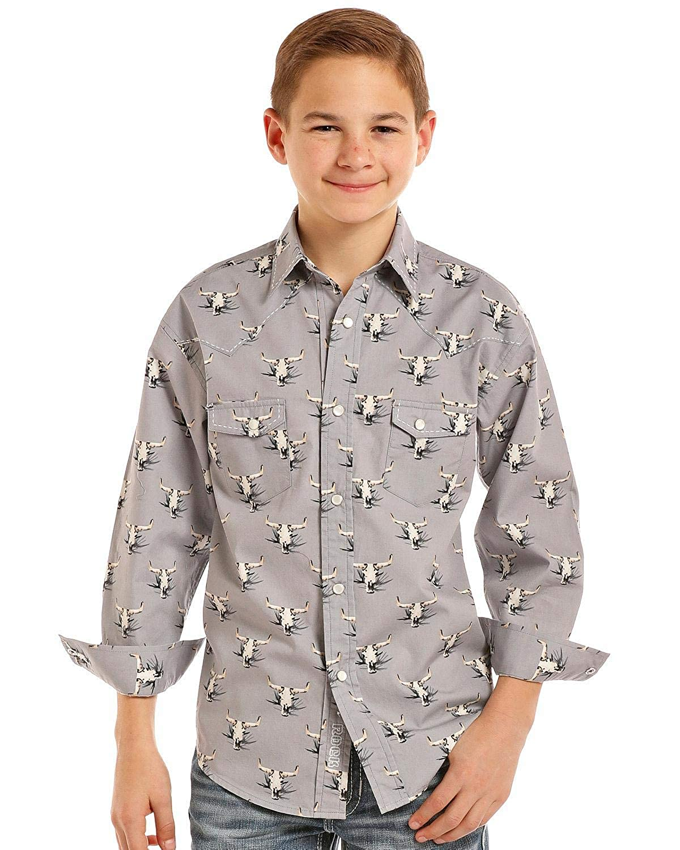 Rock /& Roll Cowboy Boys and Boys Longhorn Long Sleeve Western Shirt