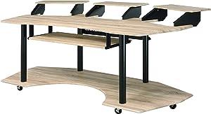 Acme Furniture Eleazar Music Recording Studio Desk, Natural Oak