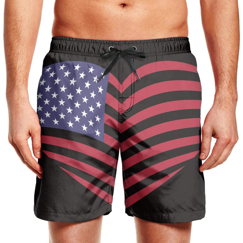 Quick-Dry Mens Beach Shorts led us American Flag Patriot Power Swim Trunks with Adjustable Drawstring