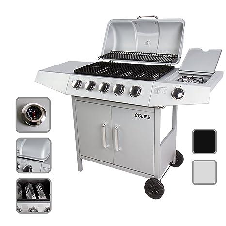 CCLIFE BBQ Barbecue griglia a gas con 3/4/5/6 bruciatori principali e uno bruciatore laterale del color argento o nero, Colore:Argento, Dimensione:5+1 Bruciatore