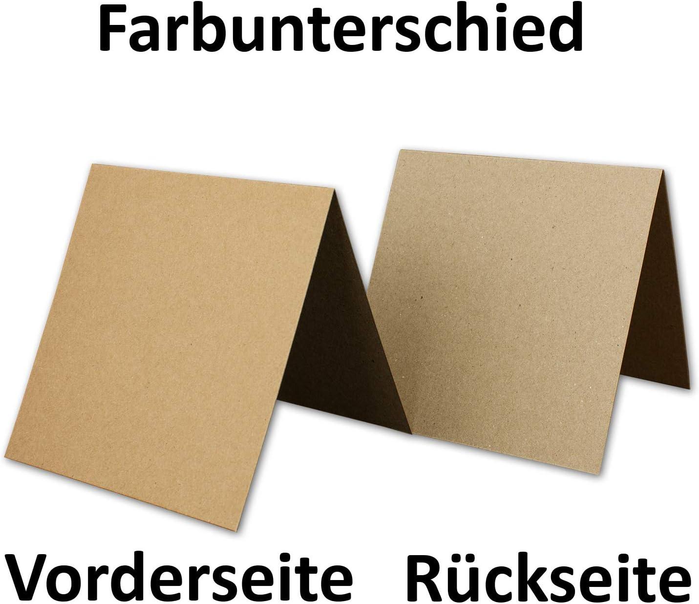 Set da 100 buste in carta kraft riciclata da 13 cm a tinta unita quadrate colore: marrone naturale.