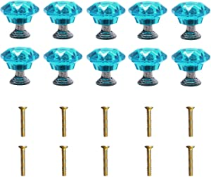 Tulead Crystal Blue Knobs Acrylic Handle for Cabinet,Drawer with Screws Pack of 10