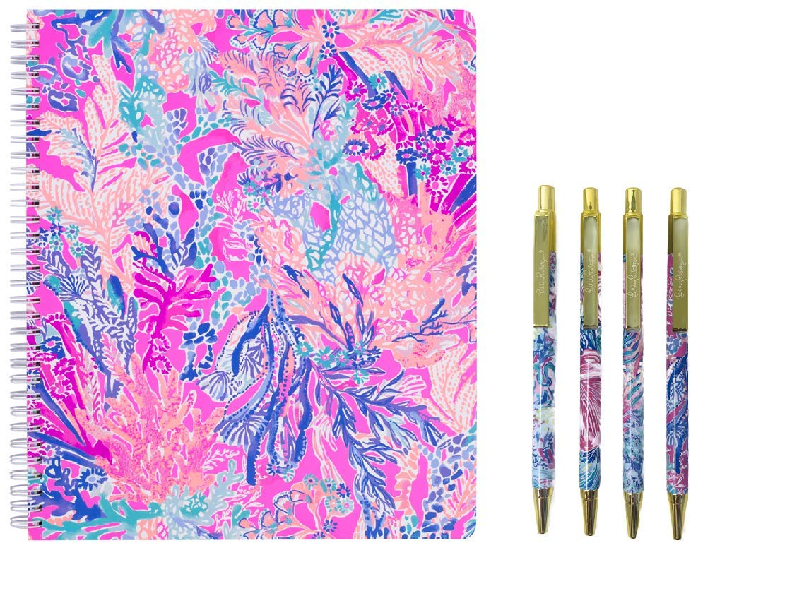Lilly Pulitzer Women's Large Spiral Notebook, 11'' x 9.5'' with 160 pages, and Black Ink Pen Set of 4 (Aquadesiac)