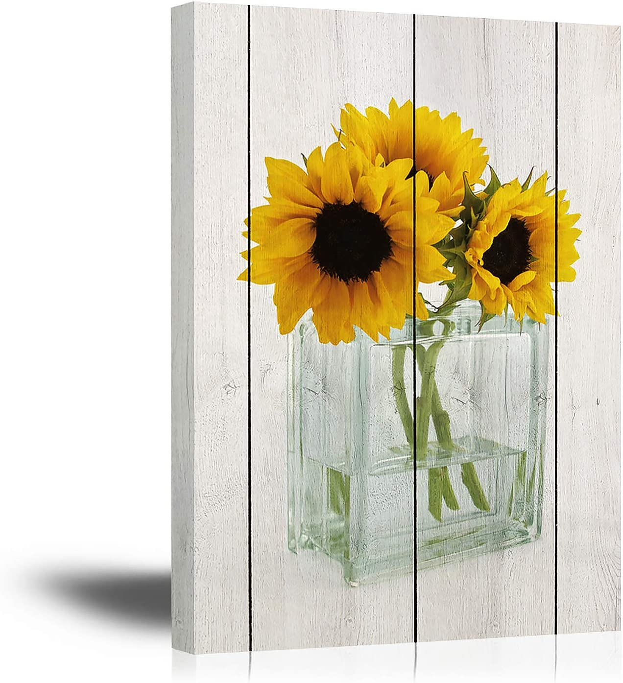 Sunflowers Canvas Wall Art for Bathroom Wall Decor 12X16Inch Yellow Flowers Wall Decoration Painting Prints for Bedroom with Wood Frame Botanical Florals in Transparency Bottle with Bright Wood Grain Background (12Wx16L)