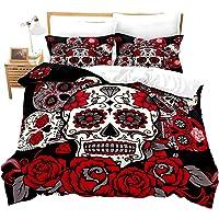 Feelyou Sugar Skull Duvet Cover Set Full Size 3D Print Skull Pattern Bedding Set Bones Skeleton Roses Floral Print…