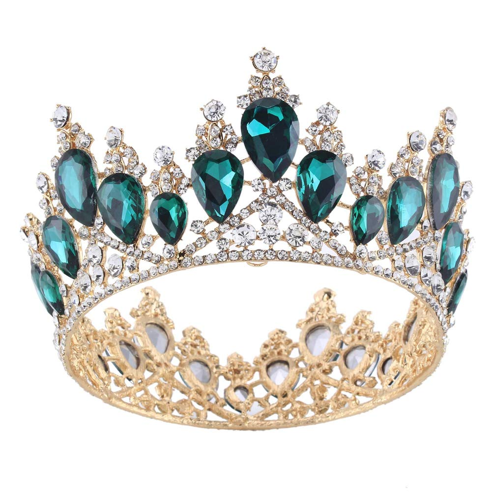 Vintage Rhinestones Crystal Crown for Women Wedding Bridal Tiara Flower Crown Hair Accessories (gold-green) by WJ