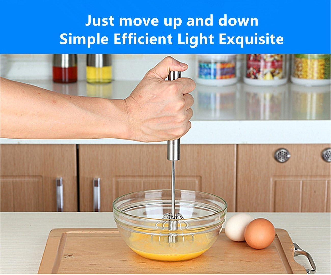 Batidor de huevo de acero inoxidable Pulse el semiautomática batidor mezcla de huevo y espumador de leche: Amazon.es: Hogar